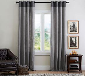 Emery Border Linen/Cotton Curtain - Gray/Charcoal