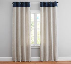 Emery Border Linen/Cotton Grommet Curtain - Flax/Navy
