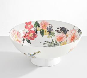 Floral Rim Footed Serve Bowl