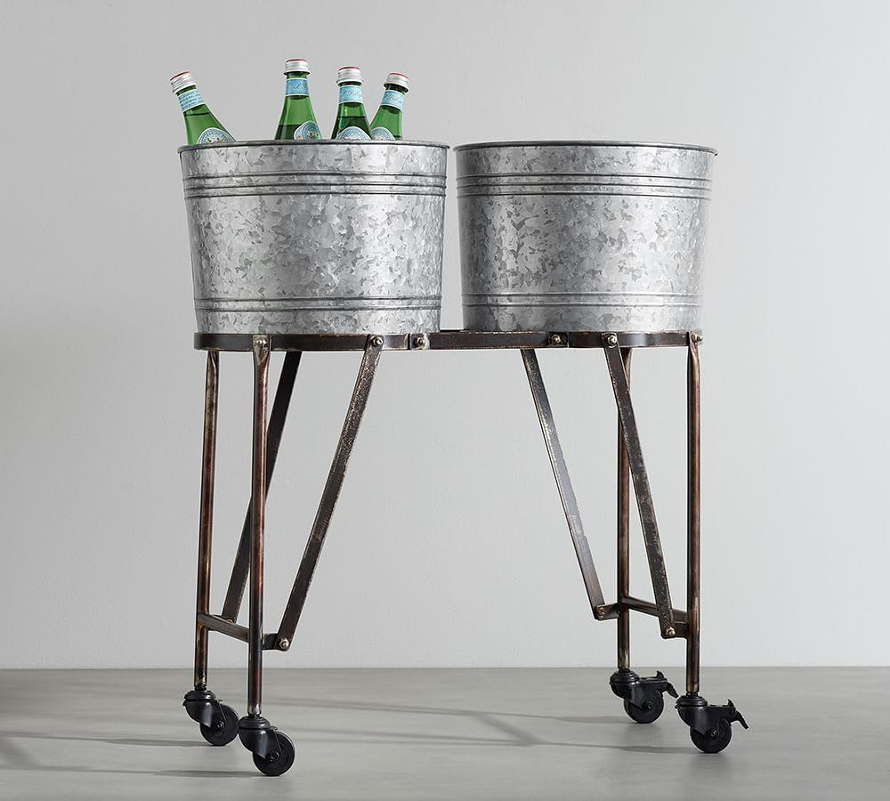 Galvanized Metal Double Drink Cooler with Rolling Stand