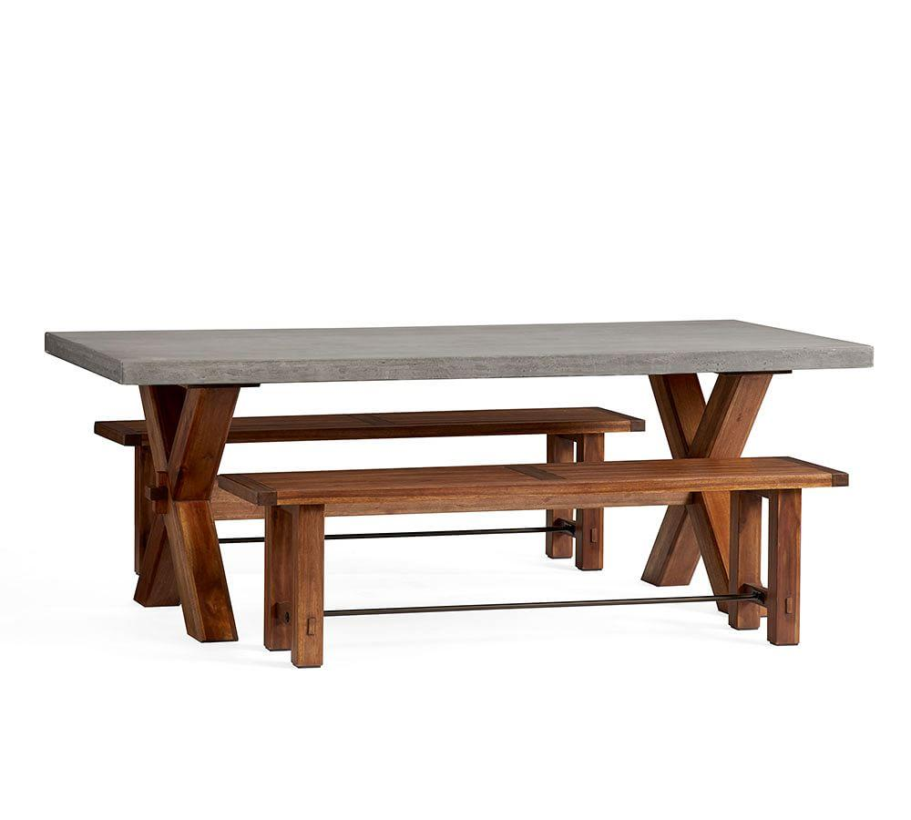 Abbott Brown X-Base Rectangle Table with Bench Dining Set