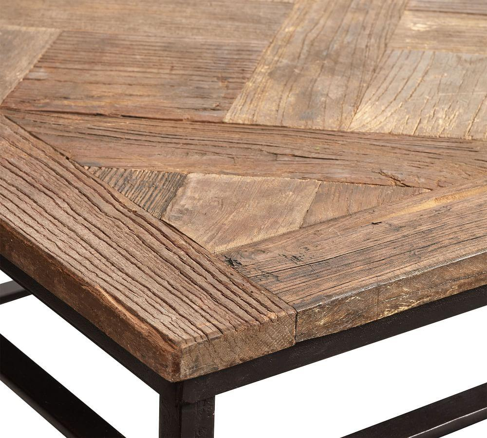 Parquet Reclaimed Wood Rectangular Coffee Table Pottery