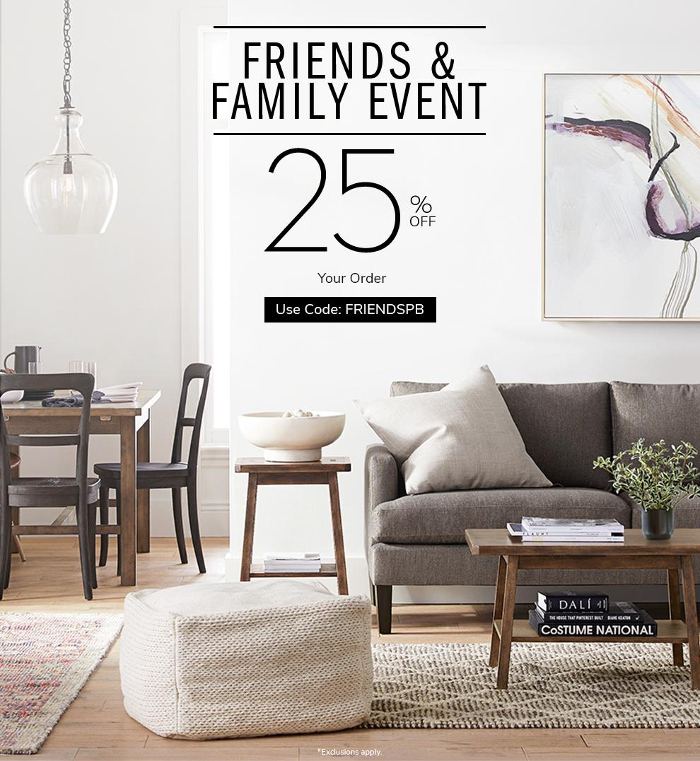 Friends & Family Event 25% off your order