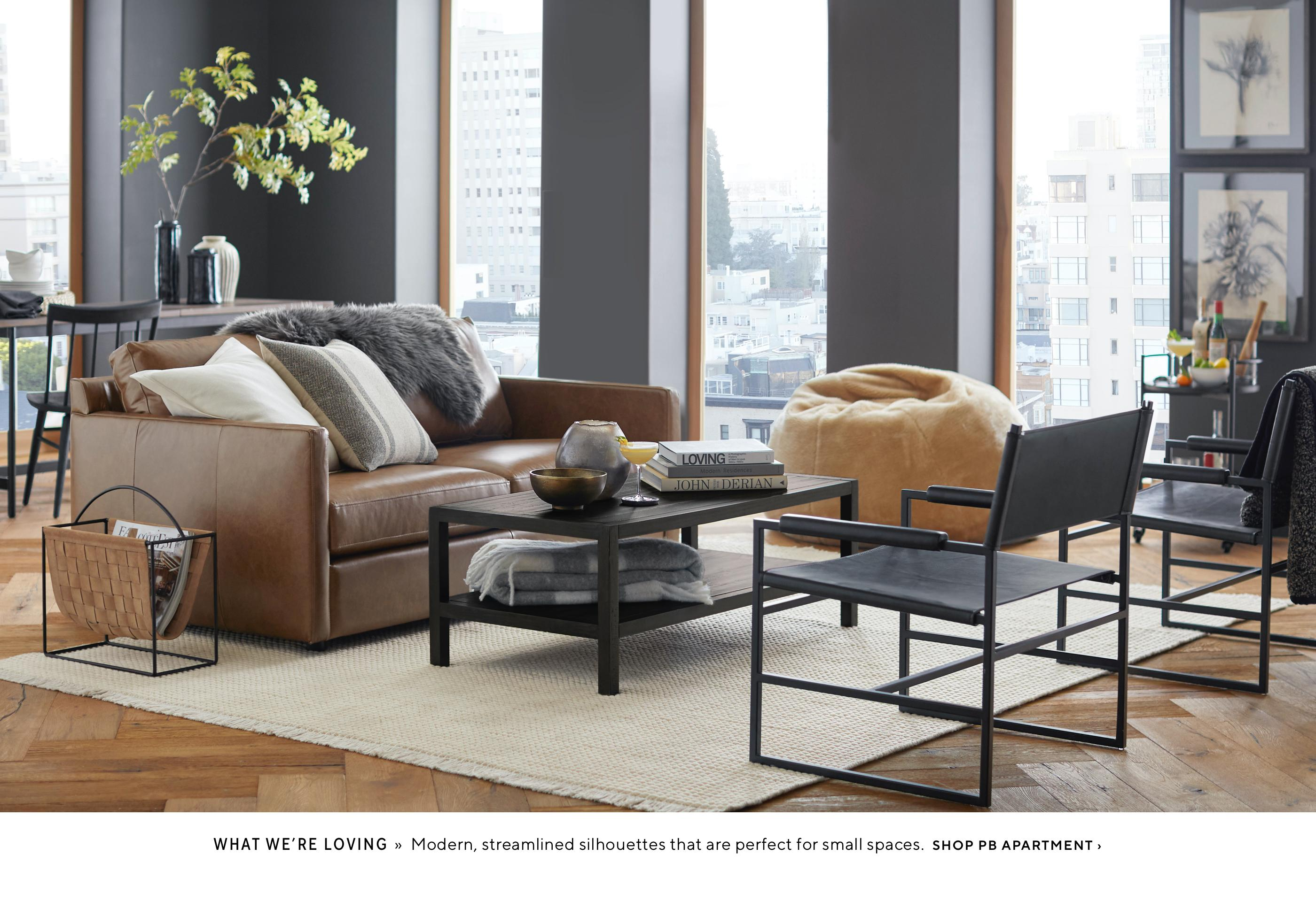 Grey with cognac upholstery in a modern living room scene from Pottery Barn
