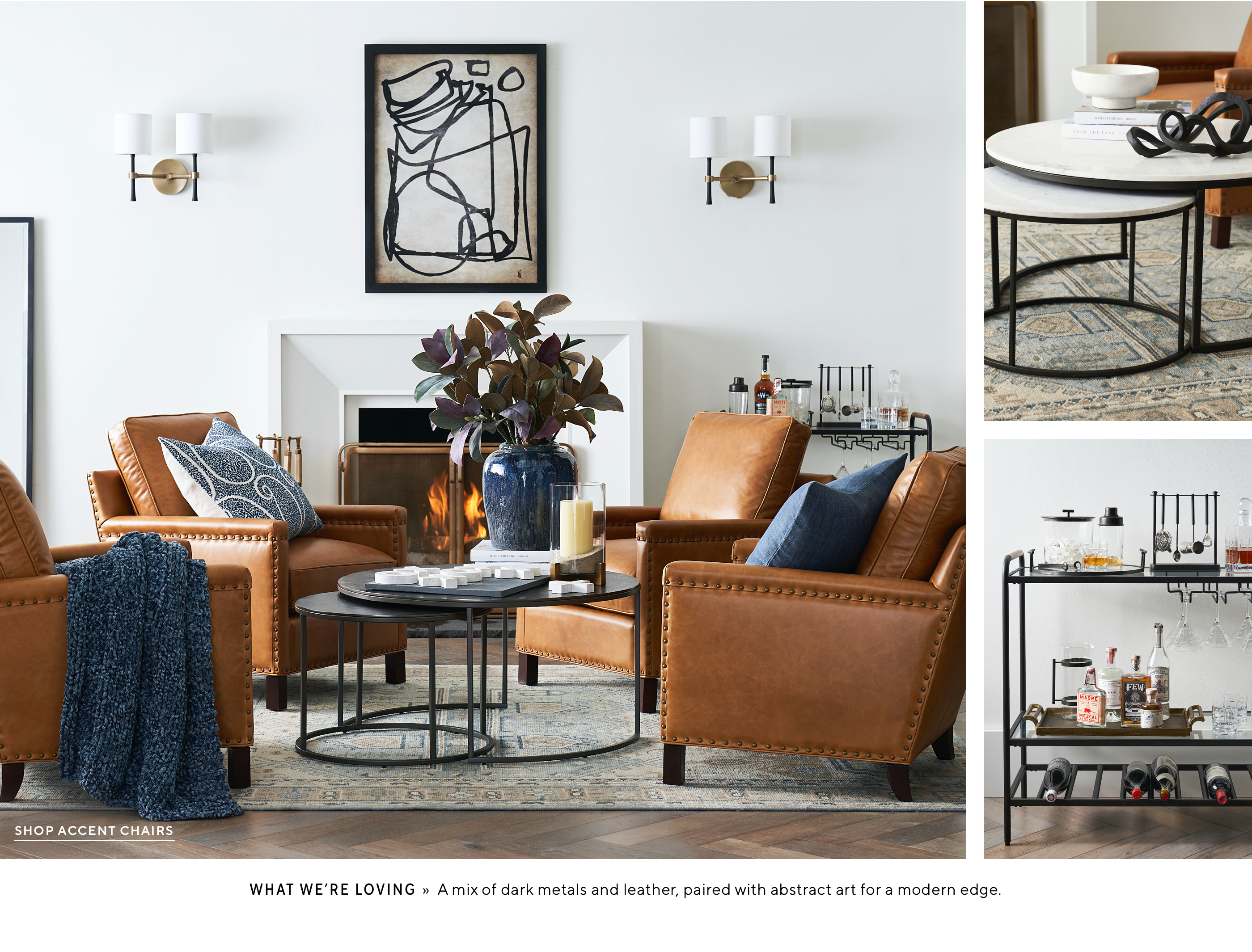 Cognac leather with navy accents in a seating grouping from Pottern Barn