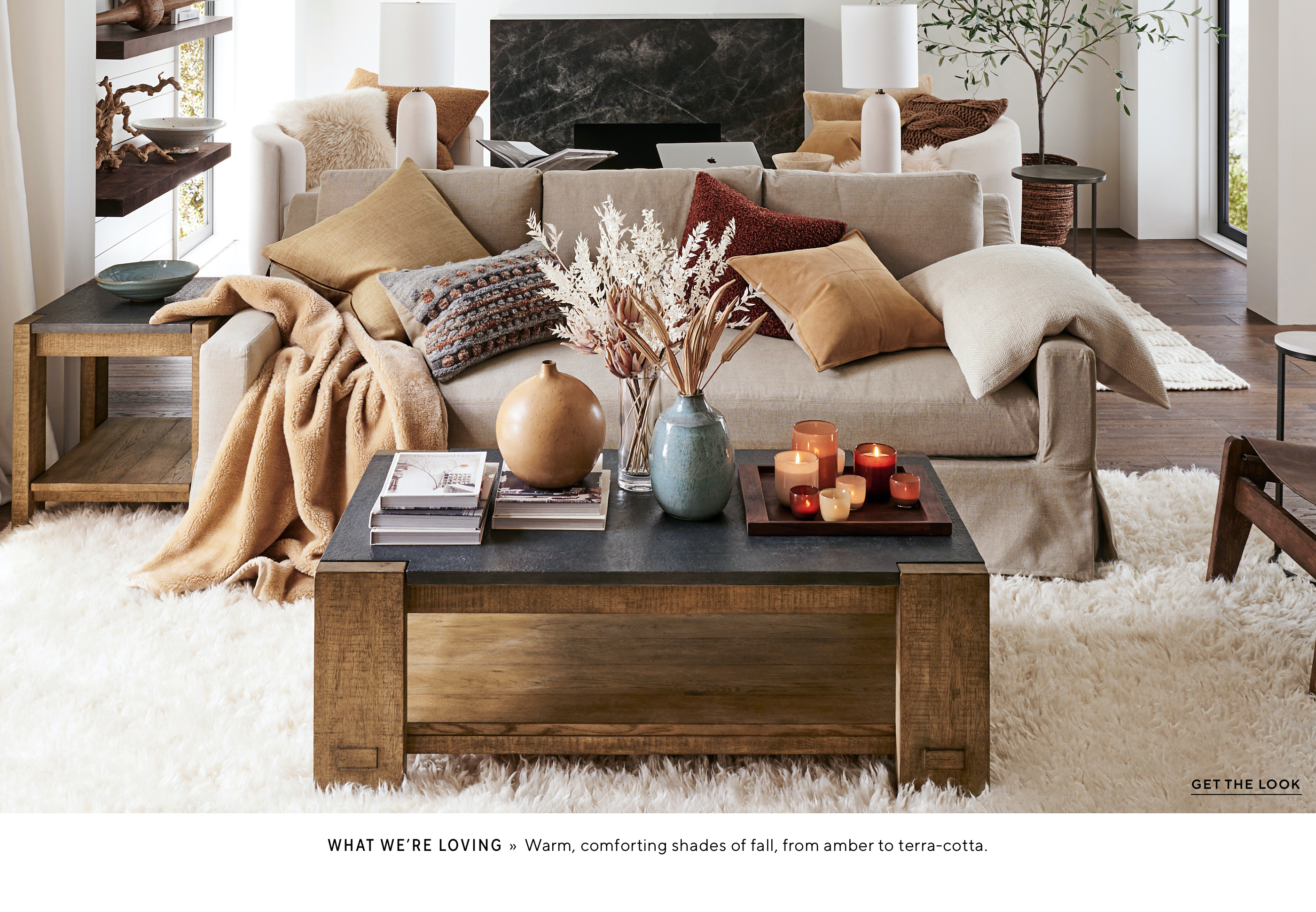 tan gold and cognac colour scheme in a living room setting from Pottery Barn