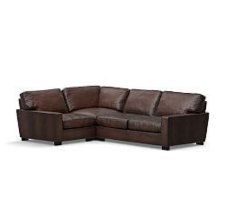 Turner Square Arm Leather 3-Piece Sectional with Corner