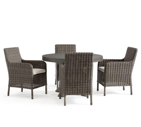 Abbott Gray Dining Table with Huntington All-Weather Wicker Chair Set