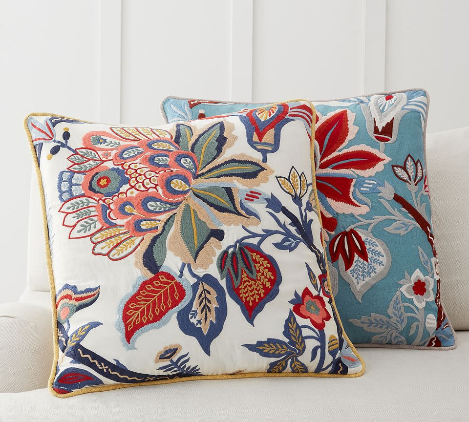 Adelio Floral Embroidered Pillow Cover