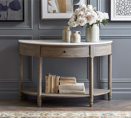 Alexandra Marble Demilune Console Table