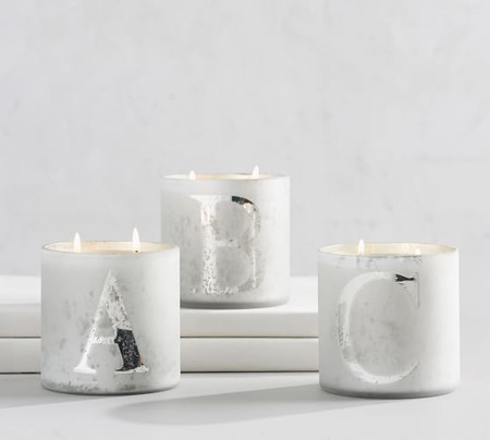 Alphabet Mercury Glass Scented Candles - Pine