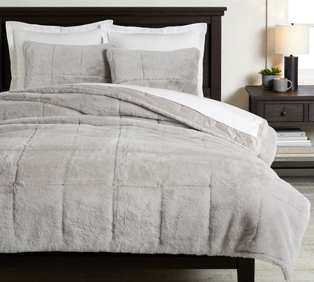 Alpine Faux Fur Quilt & Shams - Dove