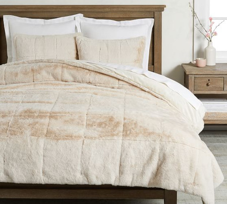 Alpine Faux Fur Quilt & Shams - Ivory