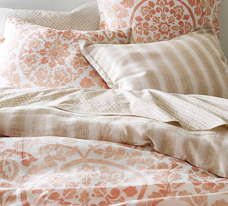 Ana Medallion Cotton Duvet Cover Amp Shams Blush Pottery