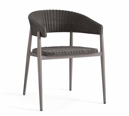 Antigua All-Weather Wicker Dining Armchair, Charcoal Gray