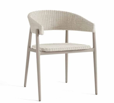 Antigua All-Weather Wicker Dining Armchair, Fog Gray