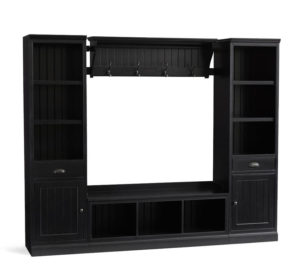 Aubrey 4-Piece Entryway Set with Cabinets, Black