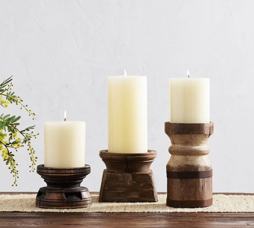 Axel Eclectic Wood Candle Holders Pottery Barn Canada