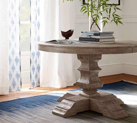 Banks Extending Pedestal Dining Table, Grey Wash