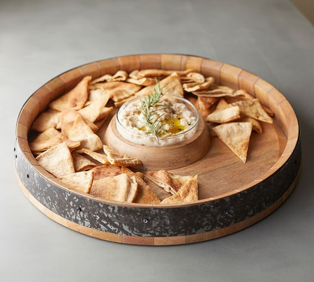 Barrel Top Chip & Dip Server