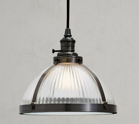 PB Classic Industrial Cord Pendant - Ribbed Glass