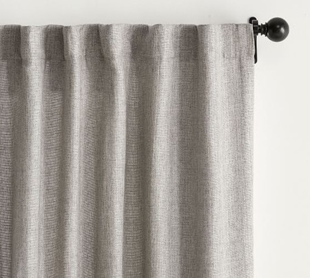 Basketweave Slub Curtain - Ash