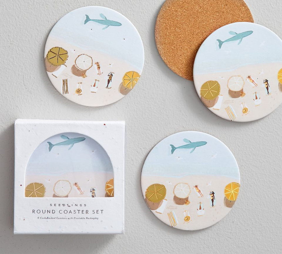 Beachside Seedlings Cork Coasters, Set of 6