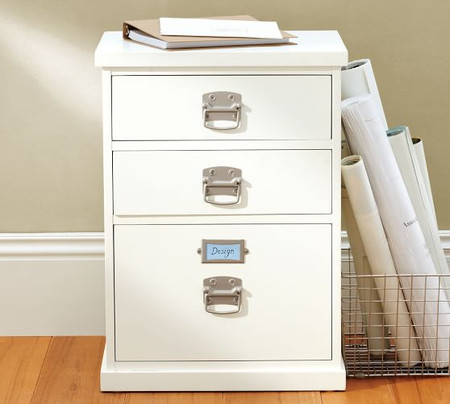 Bedford 3-Drawer File Cabinet, Antique White