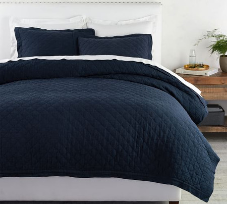 Belgian Flax Linen Diamond Quilt & Shams - Midnight