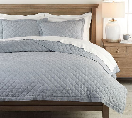 Belgian Flax Linen Diamond Quilt & Shams - Chambray