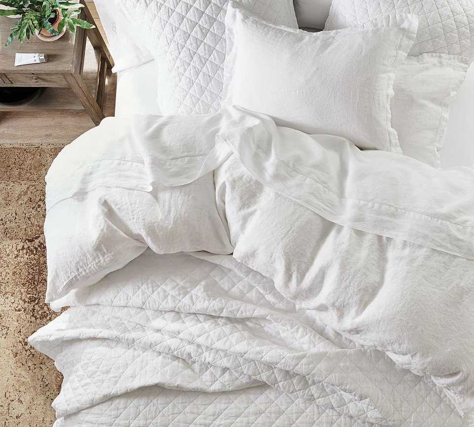 Belgian Flax Linen Diamond Quilt & Shams - Soft Rose