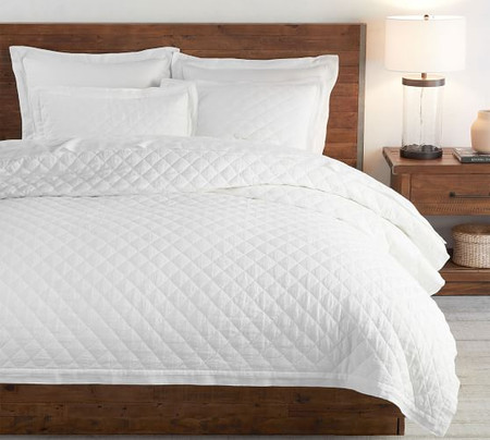 Belgian Flax Linen Diamond Quilt & Shams - White