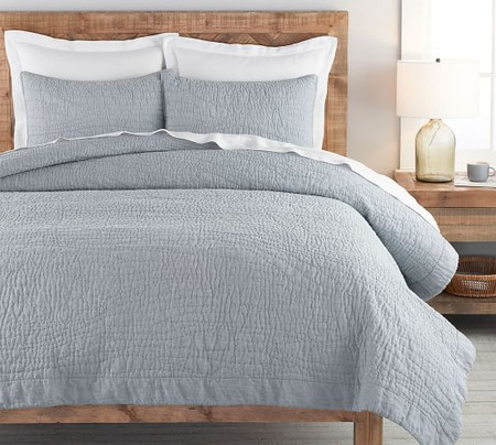 Belgian Flax Linen Handcrafted Quilt & Shams - Chambray