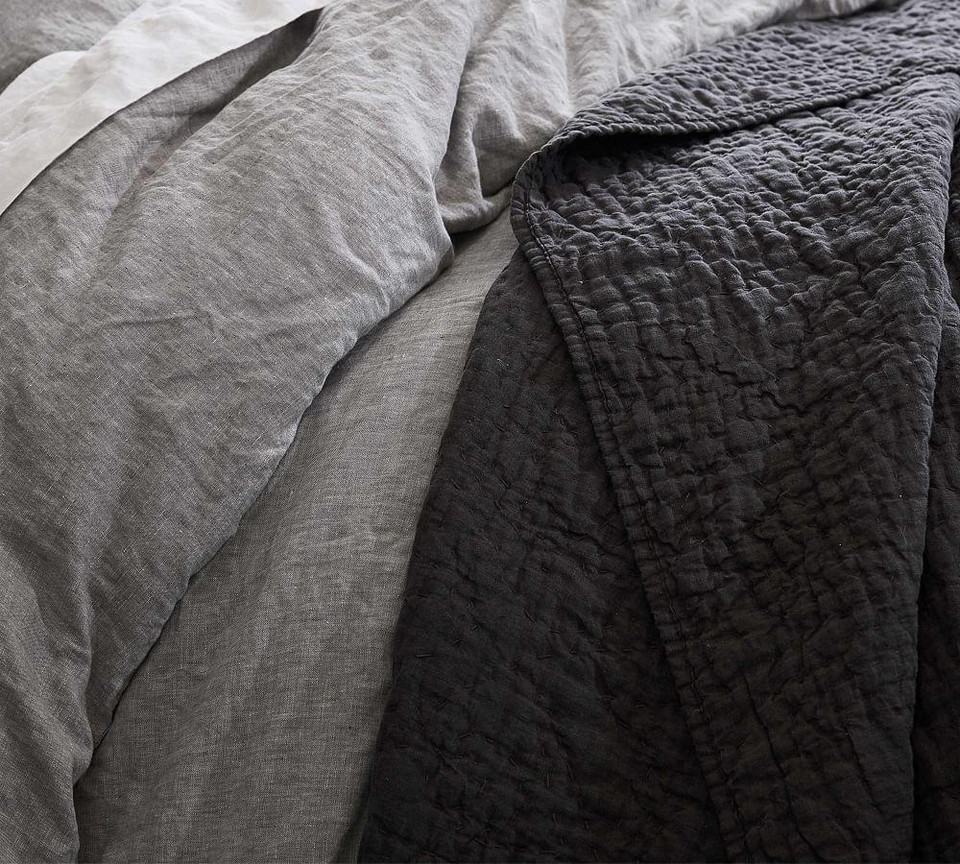 Belgian Flax Linen Handcrafted Quilt Amp Shams Charcoal