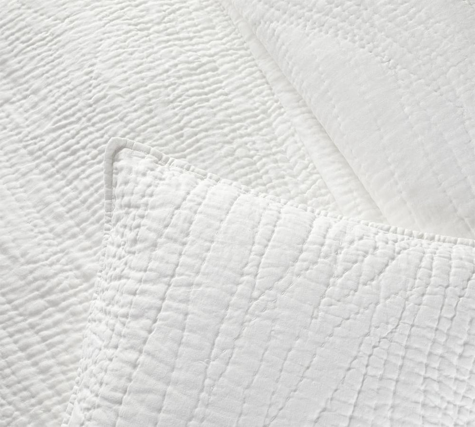 Belgian Flax Linen Handcrafted Quilt & Shams - White