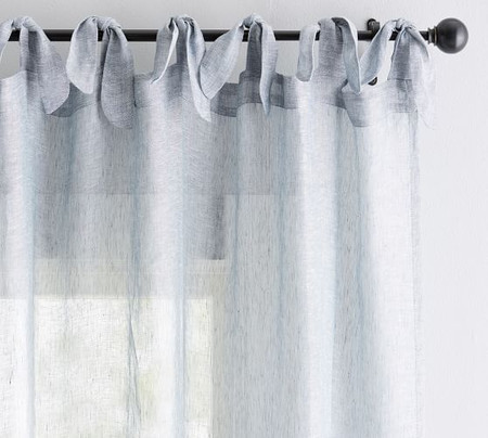 Belgian Flax Linen Sheer Tie-Top Curtain - Chambray