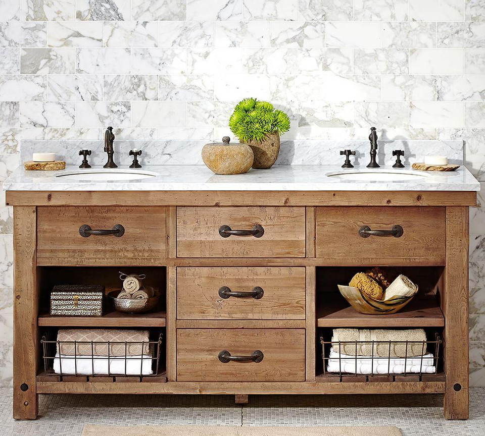 Benchwright Reclaimed Wood Double Sink Console - Wax Pine Finish