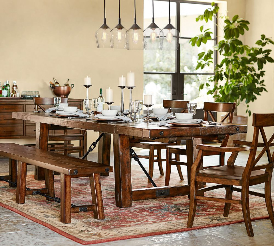 Benchwright Extending Dining Table, Rustic Mahogany