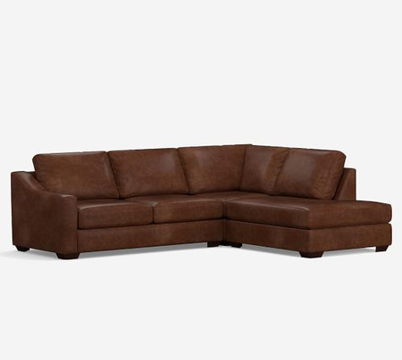 Big Sur Slope Arm Leather 3 Piece Bumper Sectional