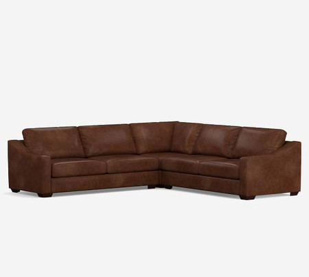 Big Sur Slope Arm Leather 3-Piece L-Shaped Corner Sectional