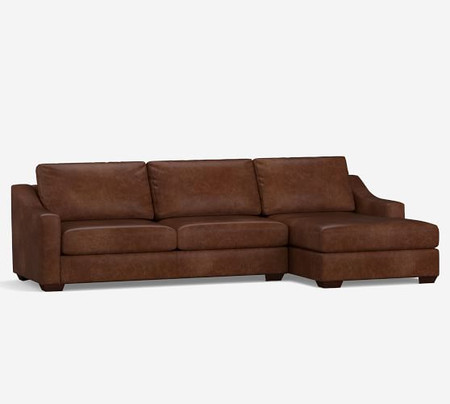 Big Sur Slope Arm Leather Sofa with Chaise Sectional