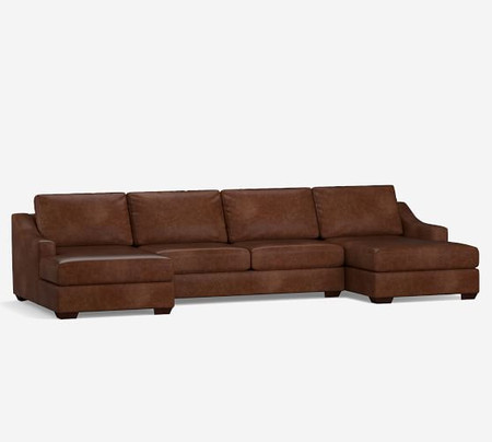 Big Sur Slope Arm Leather U Chaise Sectional