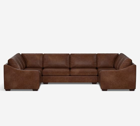 Big Sur Slope Arm Leather U Sofa Sectional
