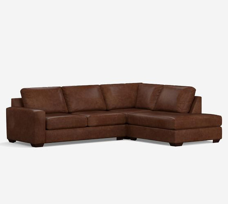 Big Sur Square Arm Leather 3-Piece Bumper Sectional