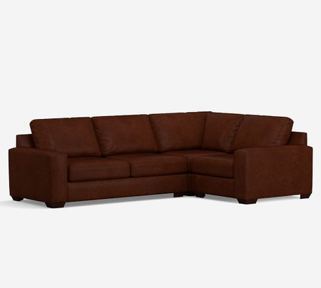 Big Sur Square Arm Leather 3-Piece Corner Sectional