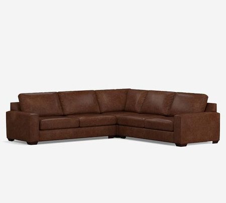 Big Sur Square Arm Leather 3-Piece L-Shaped Corner Sectional