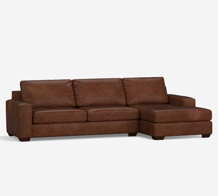 Big Sur Square Arm Leather Sofa with Chaise Sectional