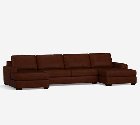 Big Sur Square Arm Leather U-Chaise Sectional