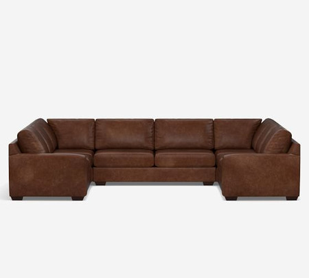 Big Sur Square Arm Leather U-Sofa Sectional
