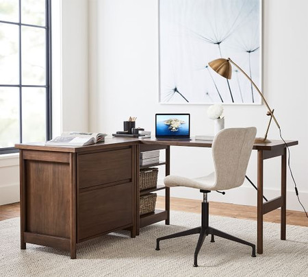 Bloomquist L-Shape Desk with Lateral File Cabinet